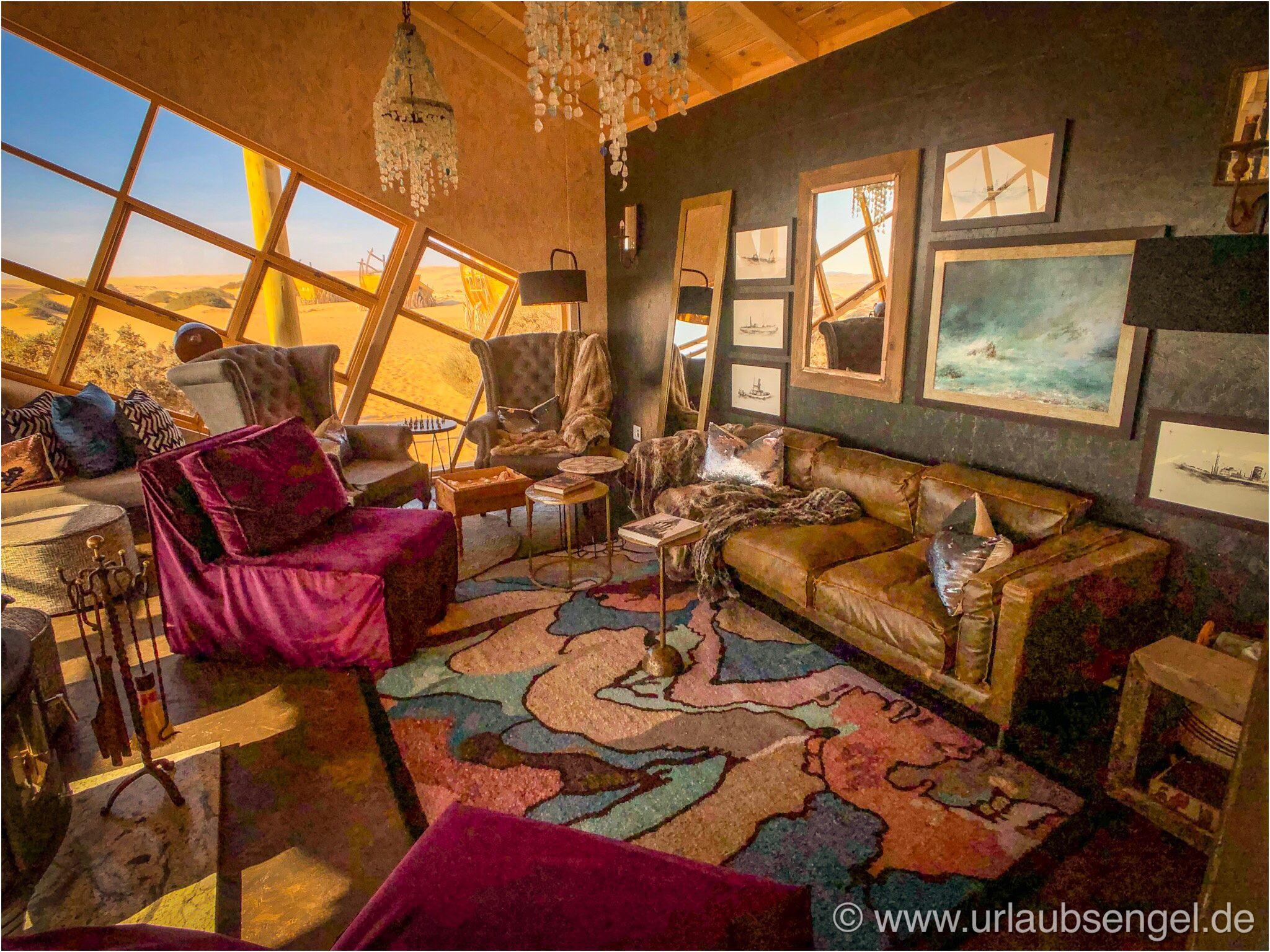 Lobby der Shipwreck-Lodge, Namibia, Skelettküste