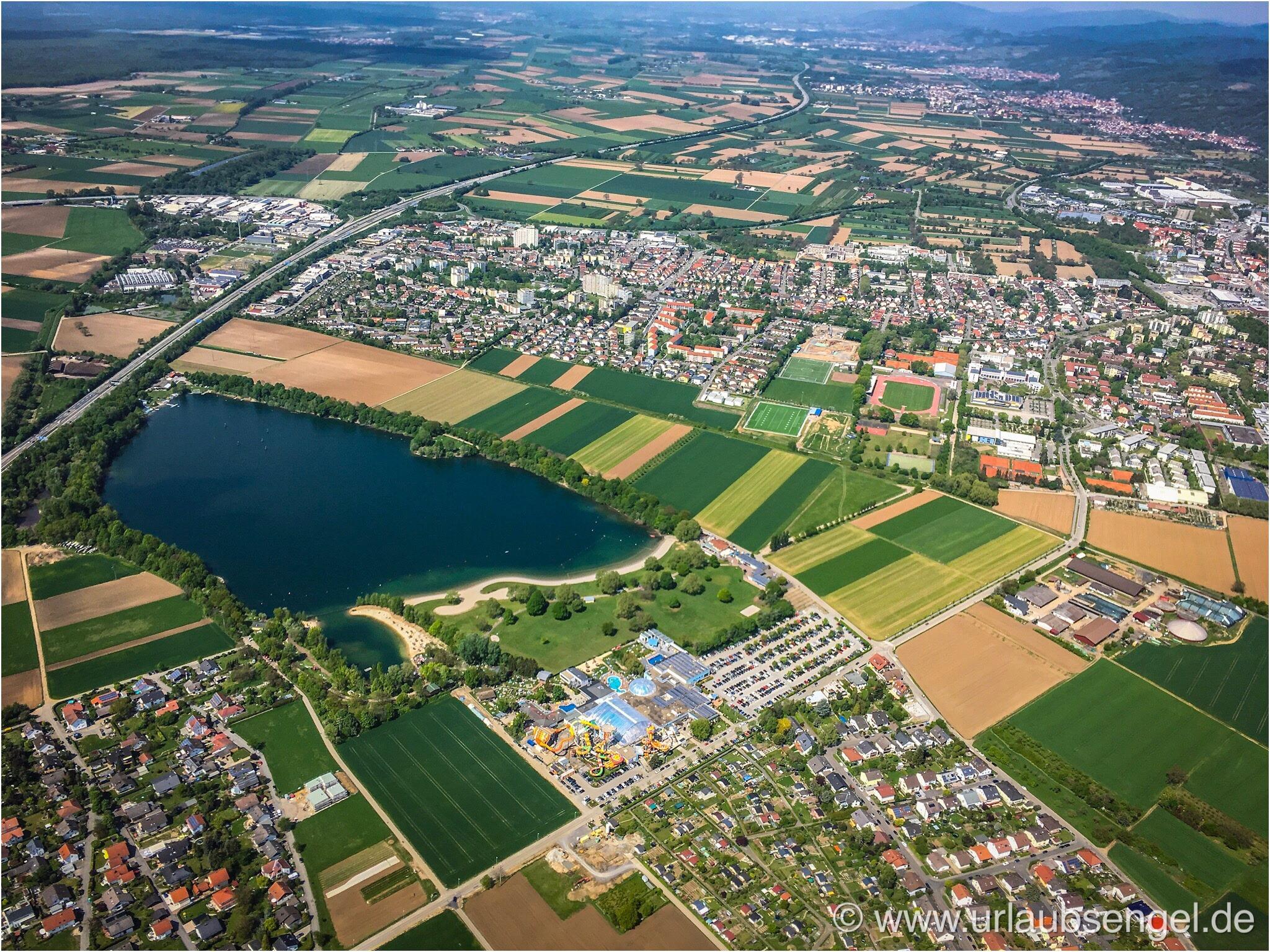 Luftbild Weinheimer Baggersee aus dem Gyrocopter
