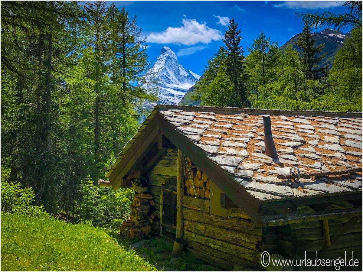 Hütte mit Blick aufs Matterhorn, Zermatt