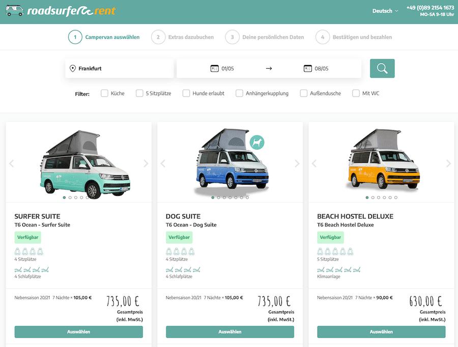 Roadsurfer Modell auswählen