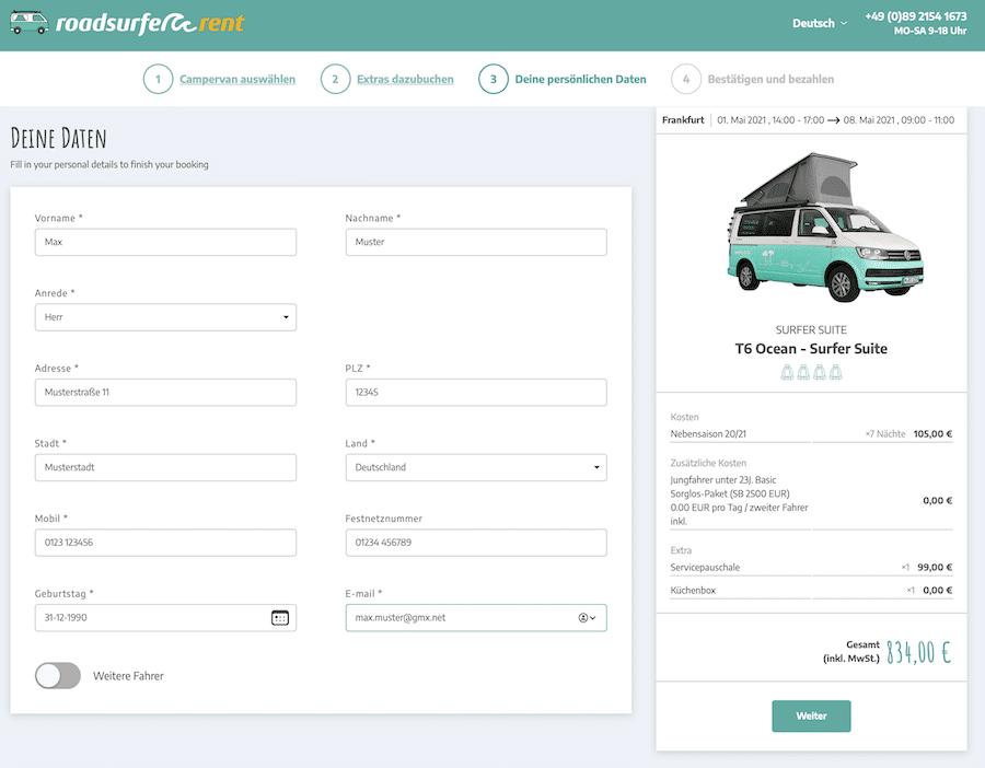 Per Daten eintragen für Roadsurfer Camper mit Rabattcode