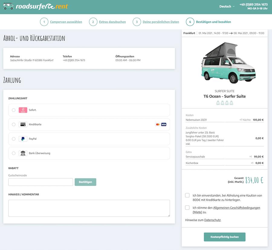 Roadsurfer Zahlungsart und Rabattcode eintragen