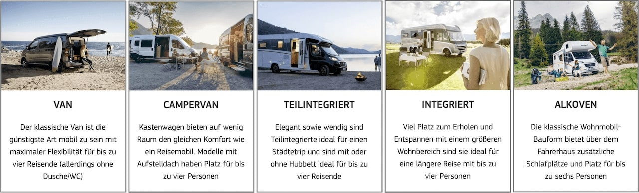 McRent Kategorien und Fahrzeugmodelle